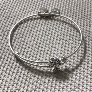 Alex and Ani silver cross slider bracelet